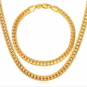 New 18K Gold Necklace/ Bracelet Set